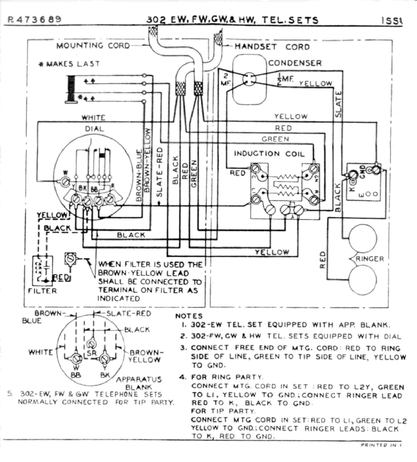 [WRG-7447] Western Electric Telephone Wiring Diagram