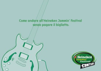 "Heineken Jammin' Festival Contest, campagna promocard, ""Palco"", soggetto ""Chitarra"". Headline ""How going to the Heineken Jammin' Festival without paying the ticket"". CW Beatrice Furlotti, AD Hugo Gallardo."
