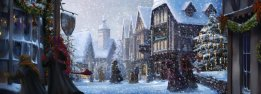 Hogsmeade during the snowy holidays.