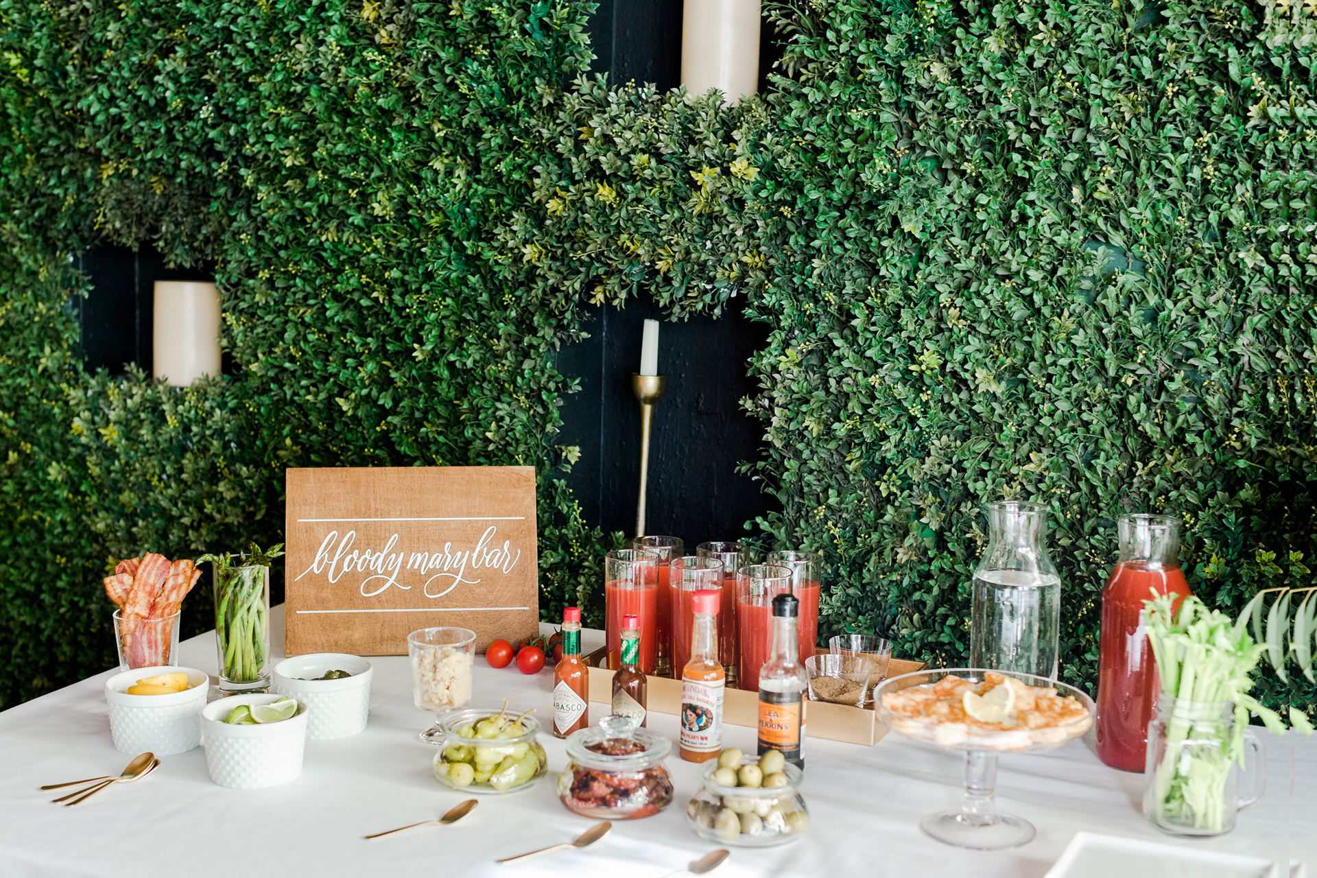 A bloody Mary bar from an event hosted by Ristorante Beatrice.