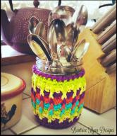 Rainbow Ridges Jar Cozy... Free Crochet Pattern