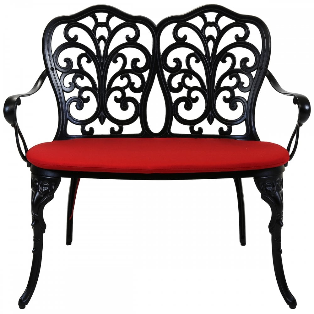 Red Patio Chairs Charles Bentley Charles Bentley Cast Aluminium Lounge Patio Set Red Cushioned Seats Black
