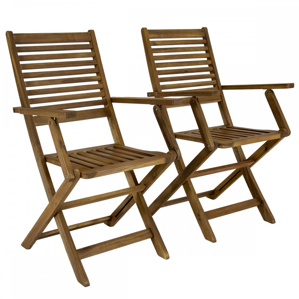 Patio Folding Chairs Charles Bentley Charles Bentley Fsc Pair Of Acacia Wood Outdoor Dining Patio Foldable Armchairs