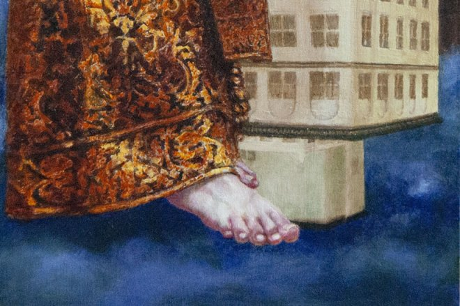 detail of painting showing a foot