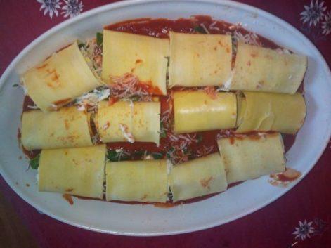 roulés de lasagne épinard et 3 fromages