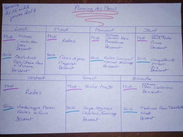 planning des menus famille nombreuse
