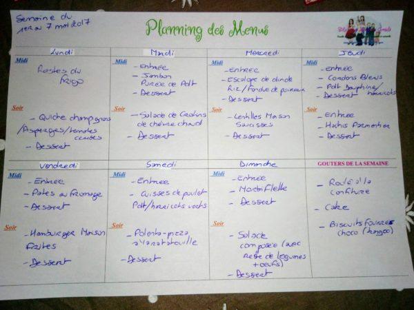 planning des menus