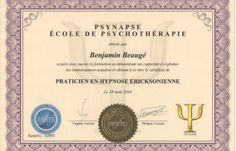 Diplôme Praticien en Hypnose Ericksonienne de Benjamin Beaugé Hypnothérapeute