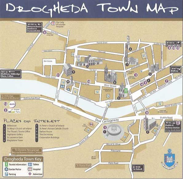 Street Map of Drogheda with route to Beaulieu House