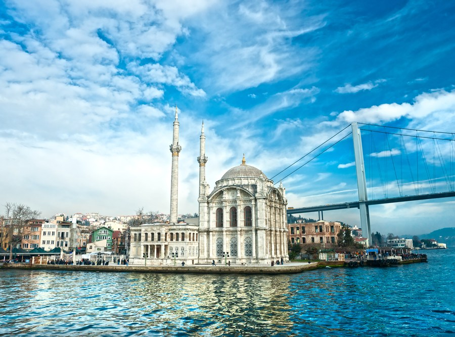 Ortakoy mosque and Bosphorus bridge, Istanbul, Turkey.