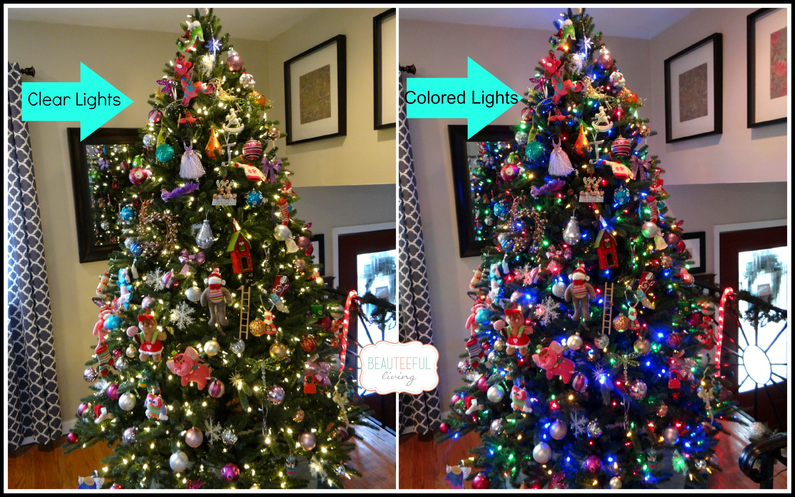 how to clean a white christmas tree with lights