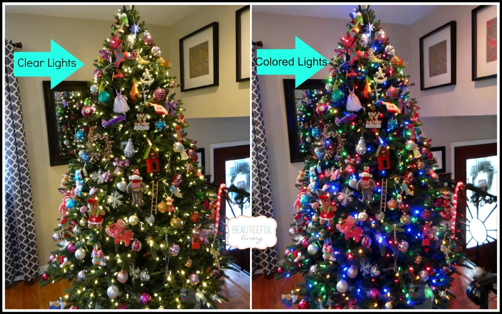 Decorated Tree with clear and colored lights