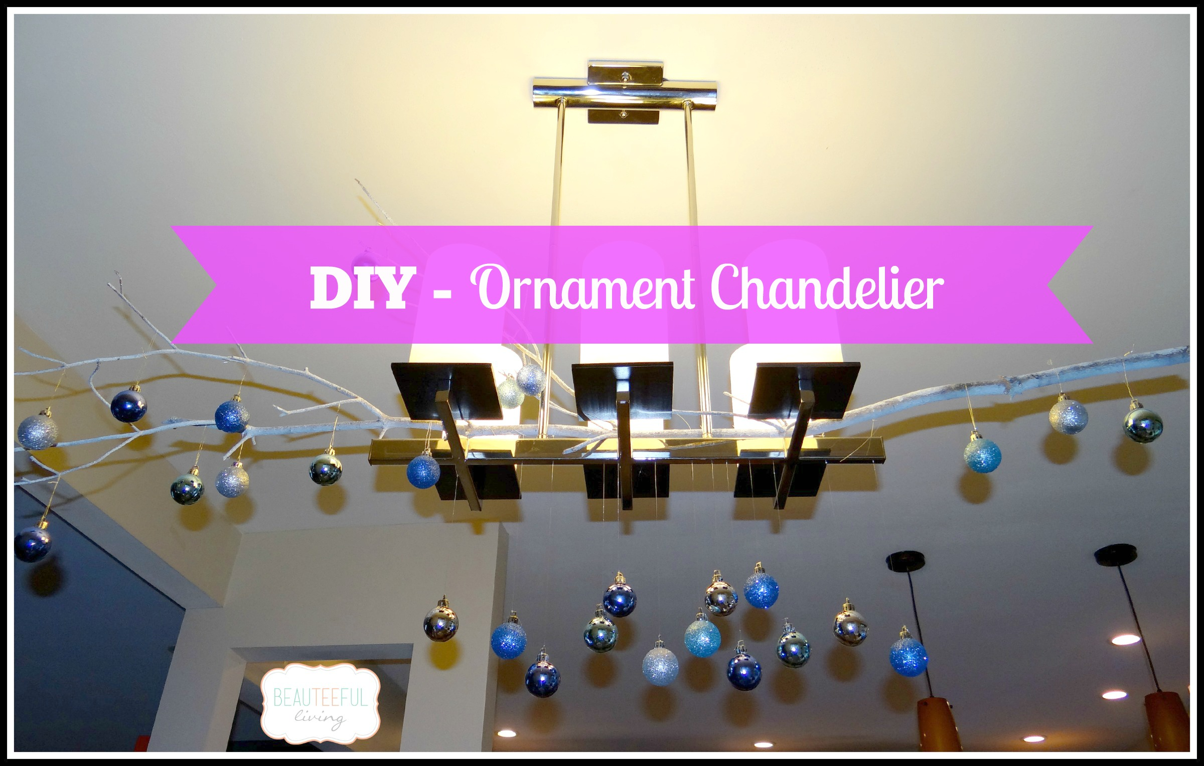 Diy ornament chandelier beauteeful living ornament chandelier diy mozeypictures Image collections