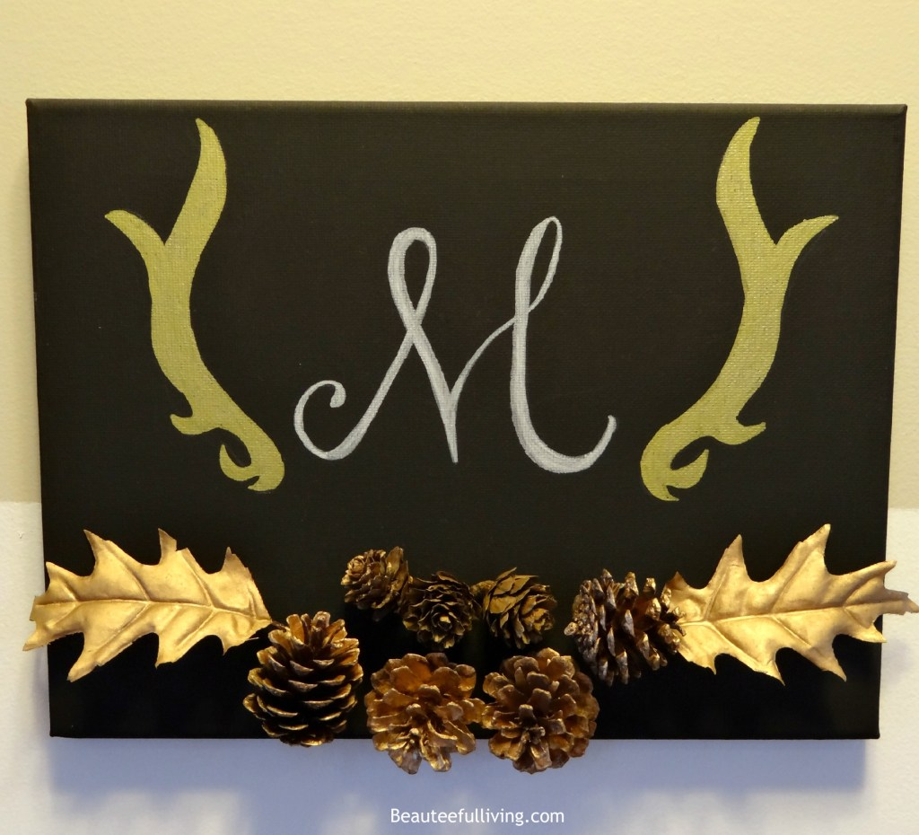 Monogrammed fall themed canvas art