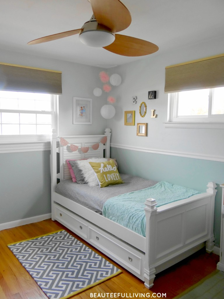 Girls Room Makeover Ceiling Fan - Beauteeful Living