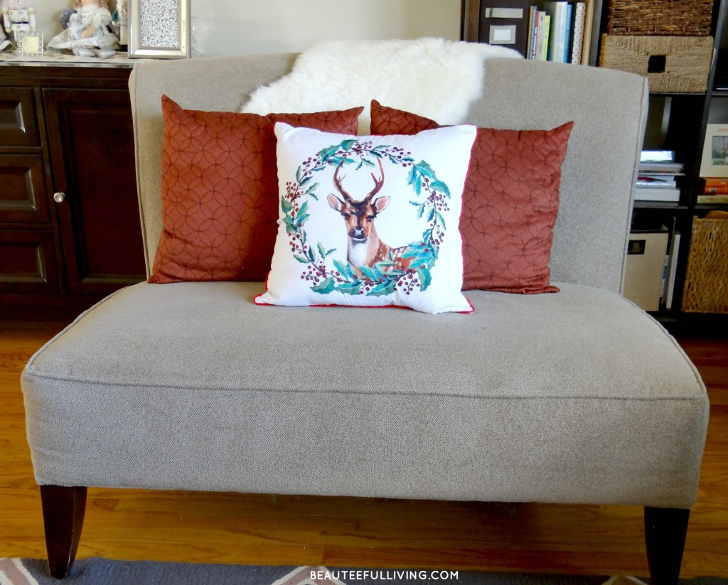 Christmas Pillows on loveseat - Beauteeful Living