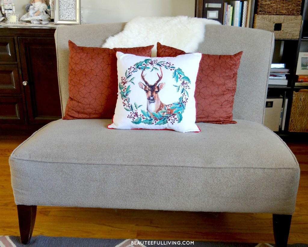 Christmas Pillows on loveseat - Beauteeful Living