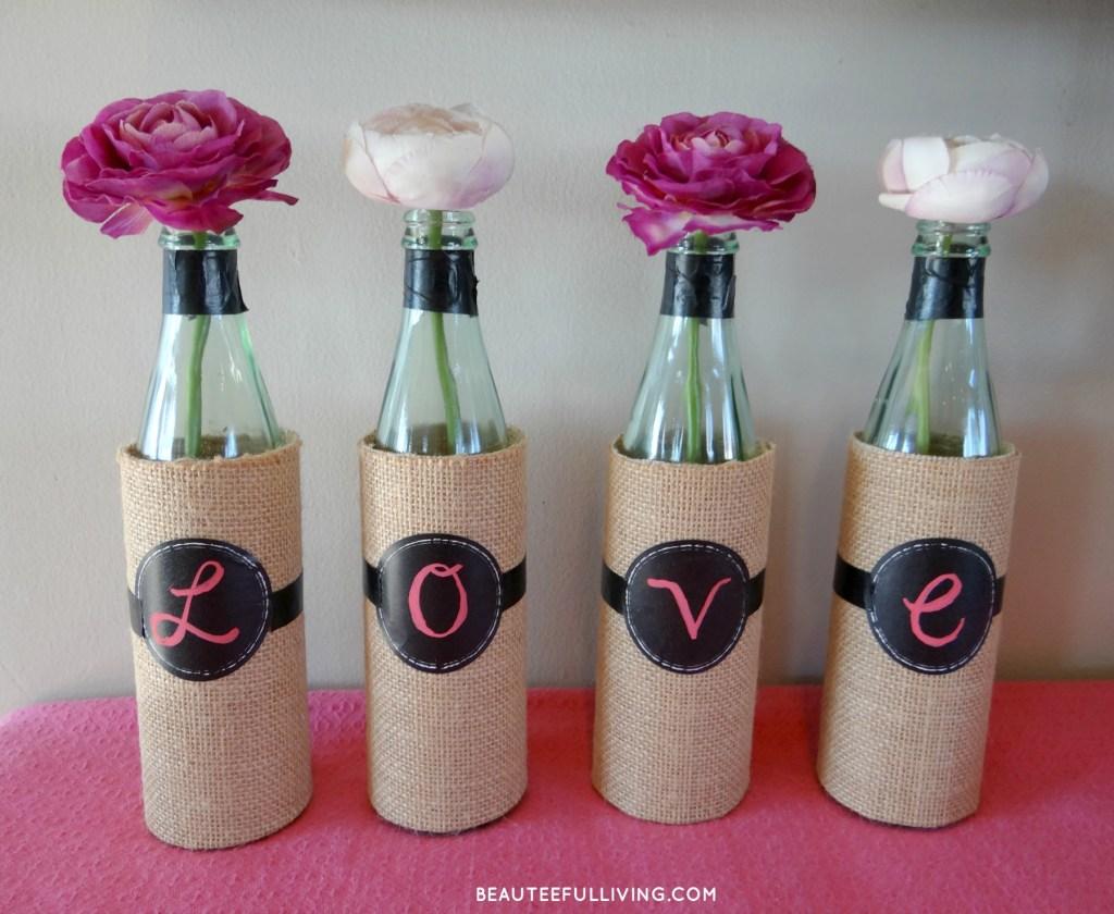DIY Wine Bottle Vase - Beauteeful Living