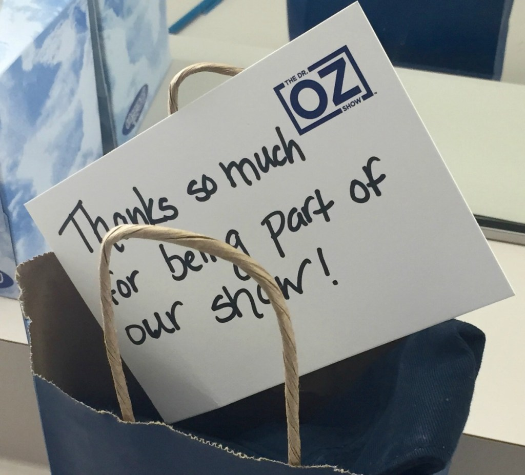 Thank you note from Dr Oz Show