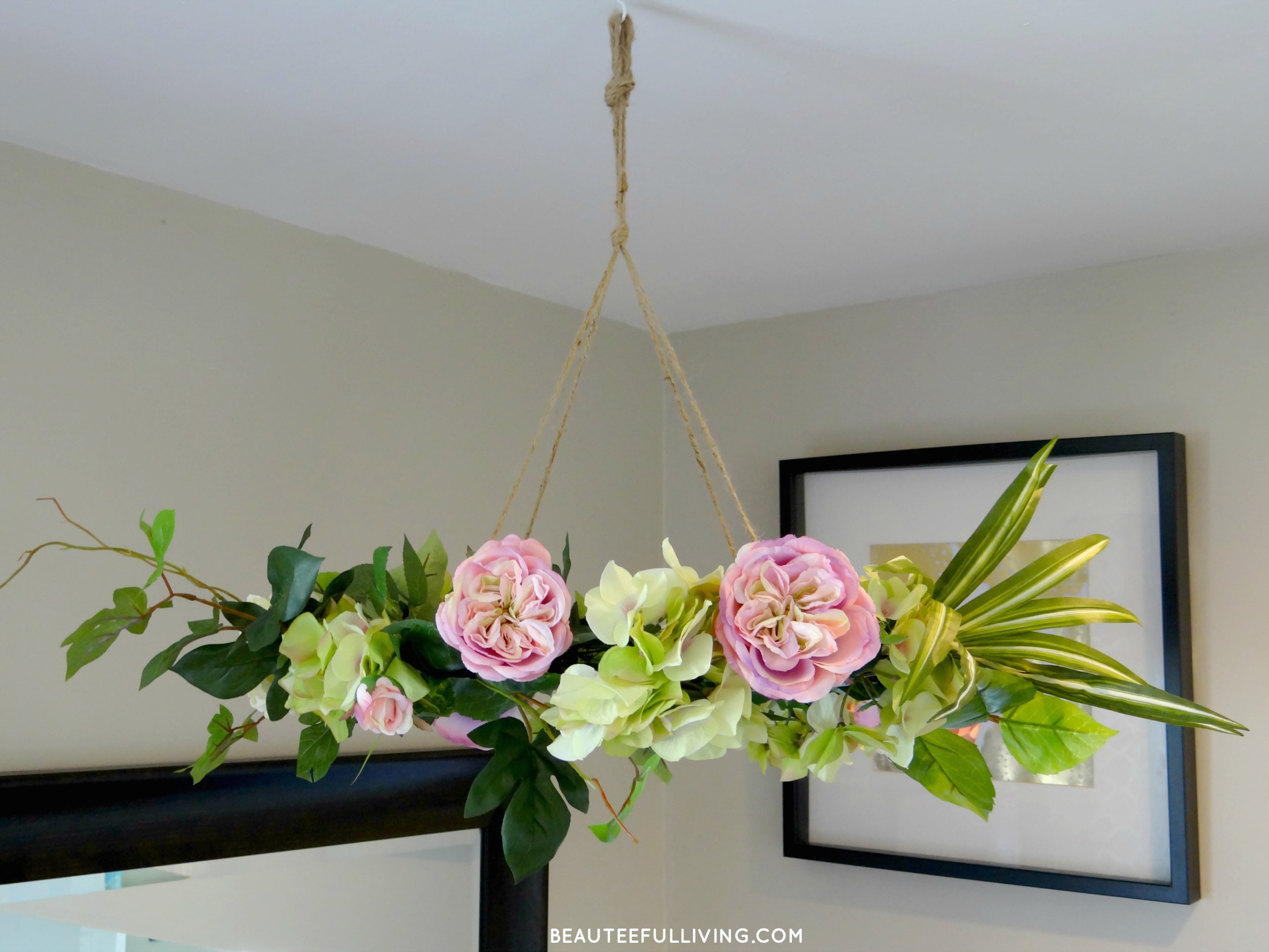 Hanging floral chandelier diy beauteeful living silk floral chandelier angled beauteeful living mightylinksfo