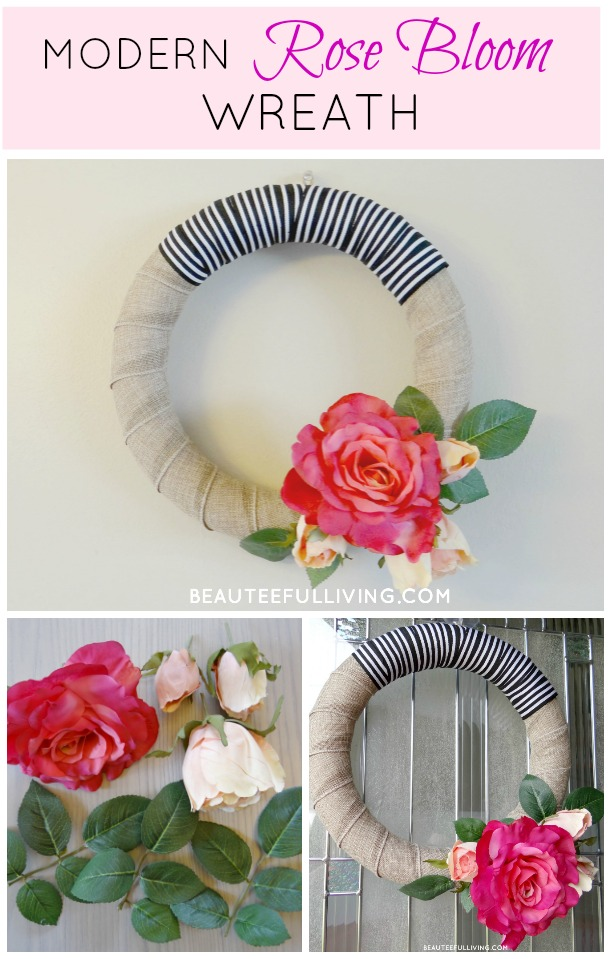 Modern Rose Bloom Wreath Pin - Beauteeful Living