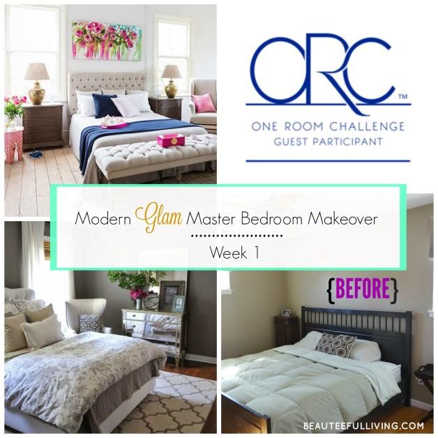 Modern Glam Master Bedroom Makeover