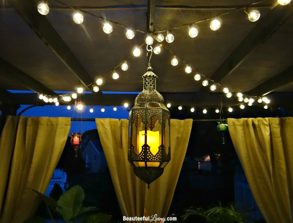 Outdoor string lights and lantern - Beauteeful Living