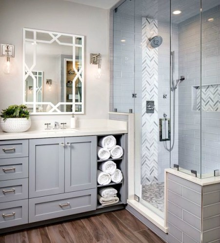 Bathroom with White Mirror
