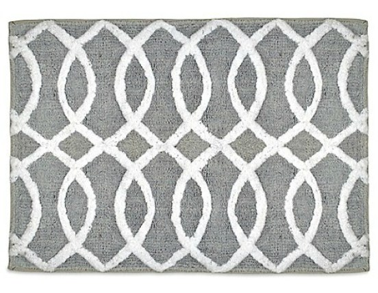 Grey and white bath rug