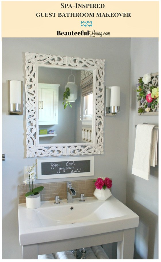 Spa Inspired Guest Bath Makeover Pin - Beauteeful Living