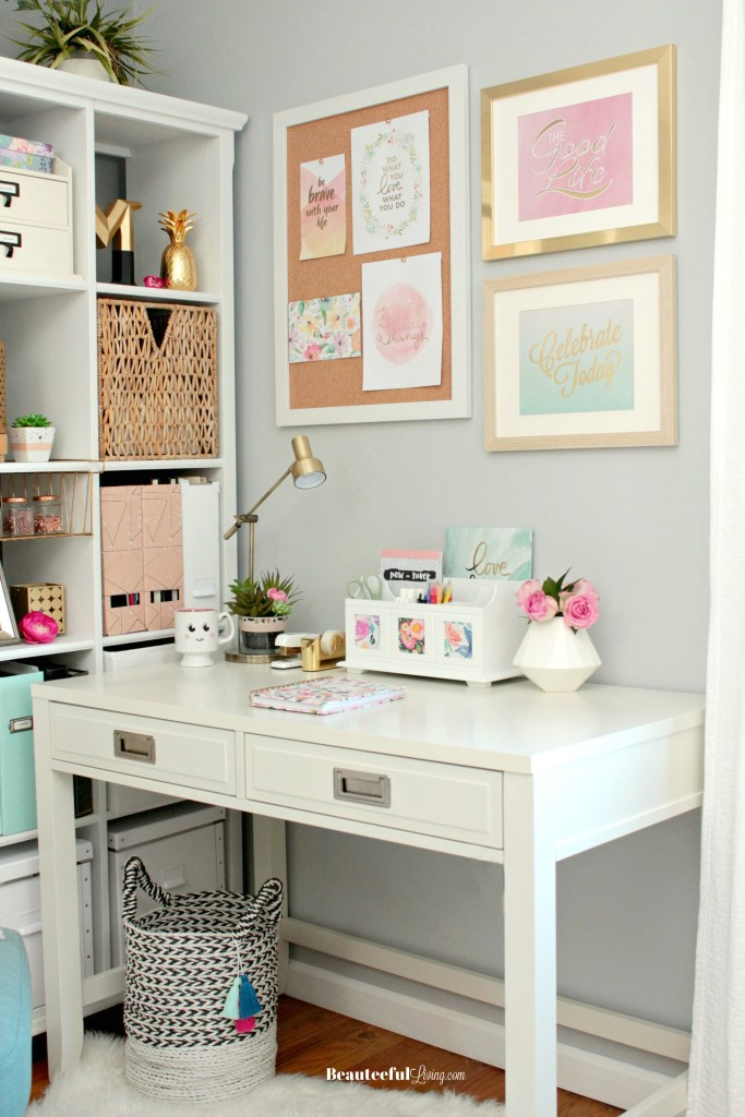 Glam Home Office Desk Styling - Beauteeful Living