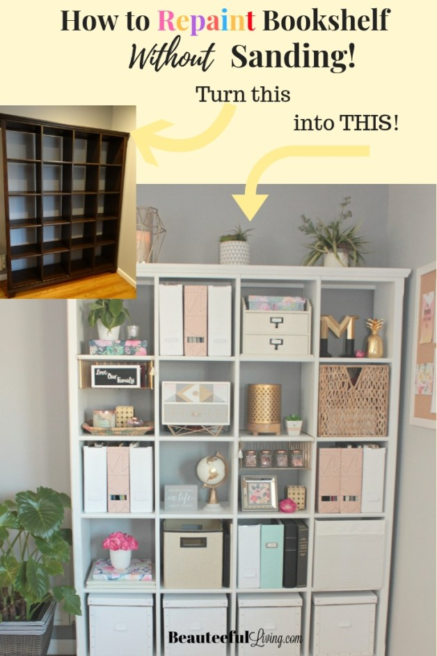 Repaint Bookshelf Without Sanding - Beauteeful Living