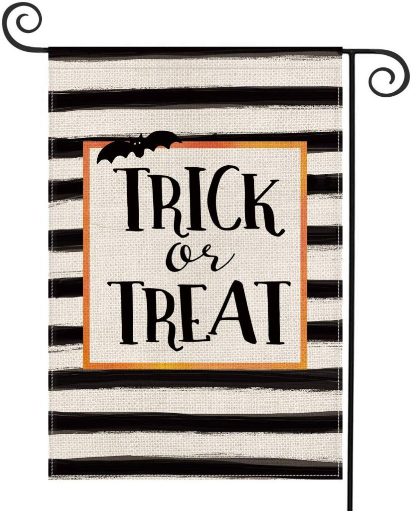 Trick or Treat Striped Garden Flag