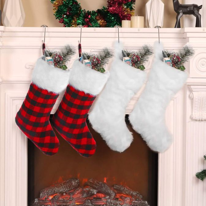 Faux fur plaid stocking set