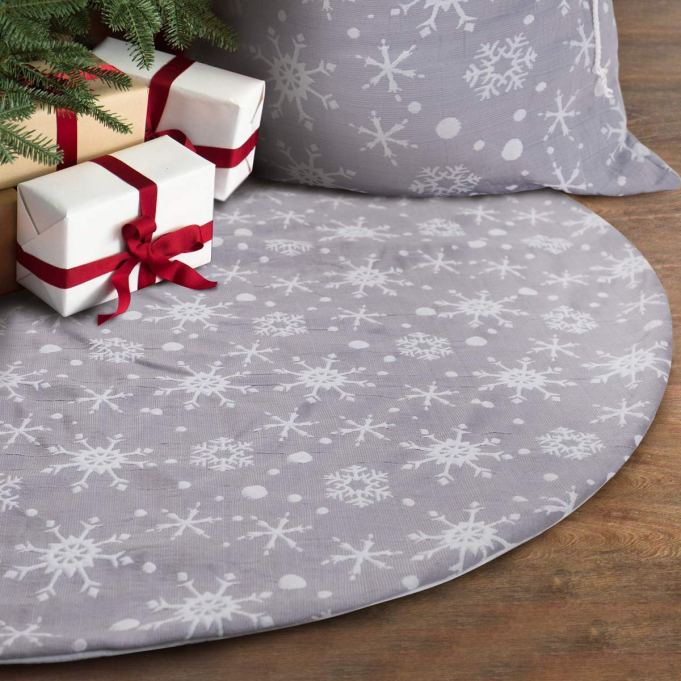 Grey and White Snowflake Tree Skirt