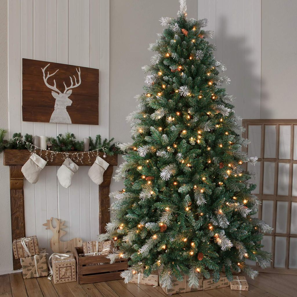 Pre-Lit Flocked Christmas Tree