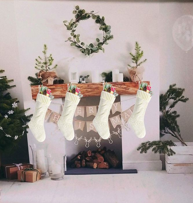 White Knit Christmas Stocking Set