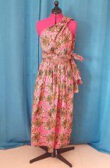 Robe Infinity wax 100% coton motif fleurs sur fond rose-16