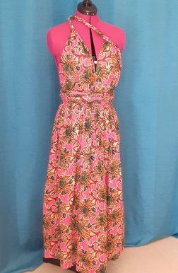 Robe Infinity wax 100% coton motif fleurs sur fond rose-22