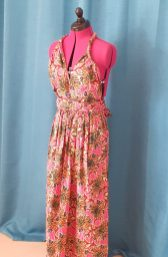 Robe Infinity wax 100% coton motif fleurs sur fond rose-27
