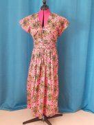 Robe Infinity wax 100% coton motif fleurs sur fond rose-31