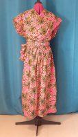 Robe Infinity wax 100% coton motif fleurs sur fond rose-6