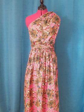 Robe Infinity wax 100% coton motif fleurs sur fond rose-8