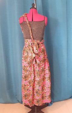 Robe Infinity wax 100% coton motif fleurs sur fond rose-9