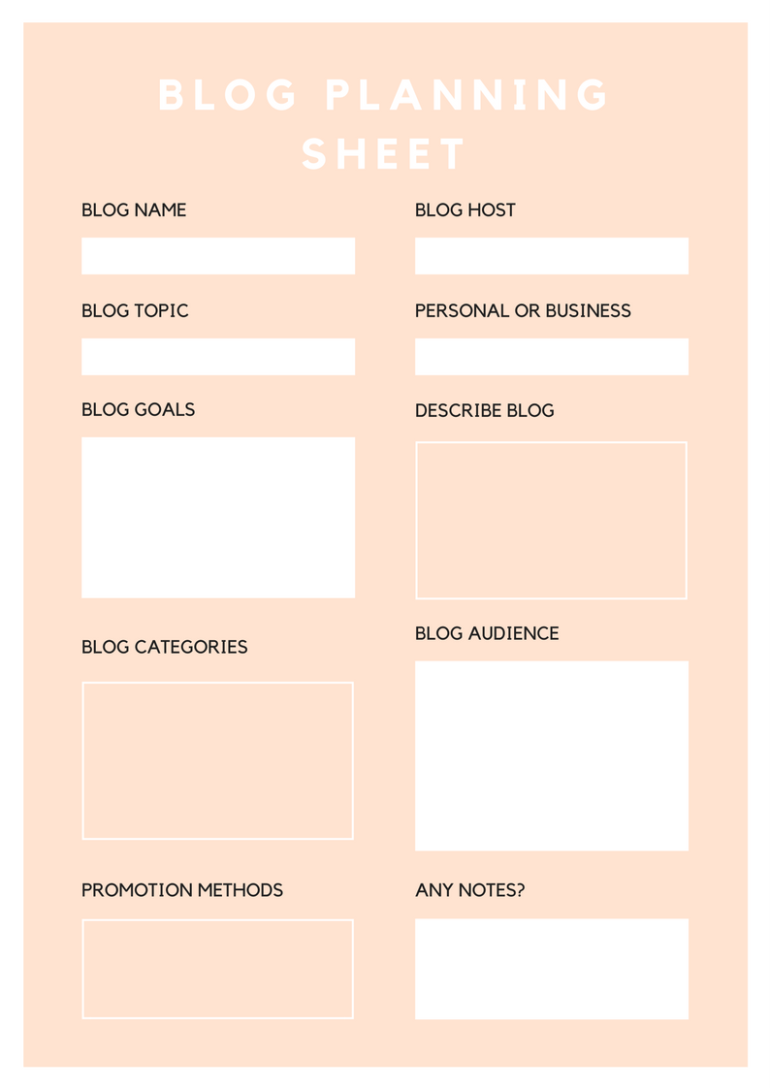 How To Set Up A Blog Planning Sheet