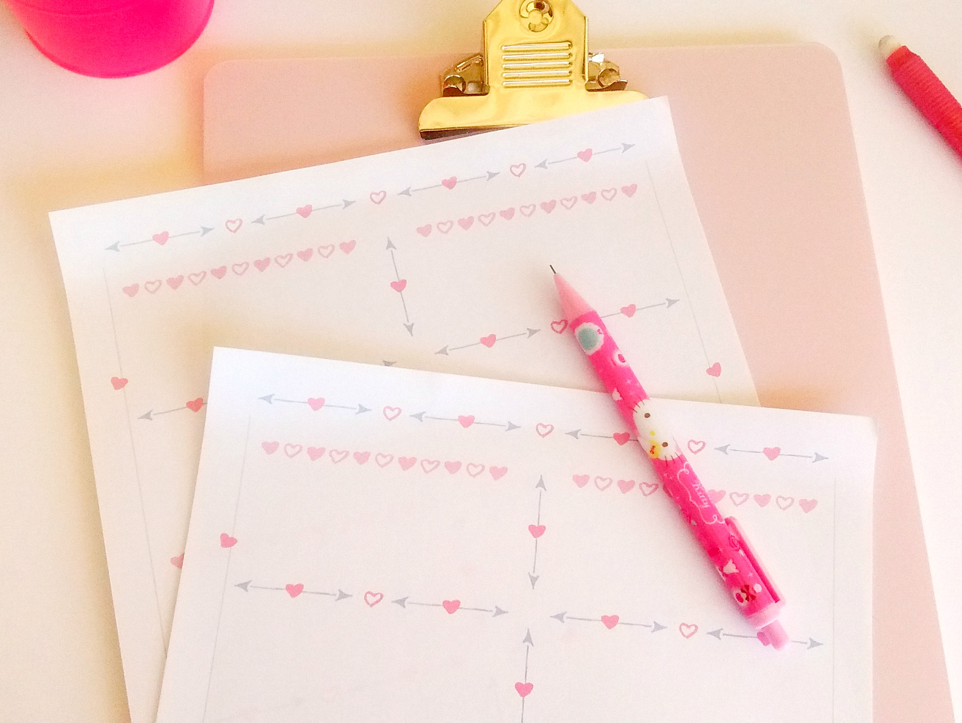 Hearts And Arrows Free Printable Planning Worksheet