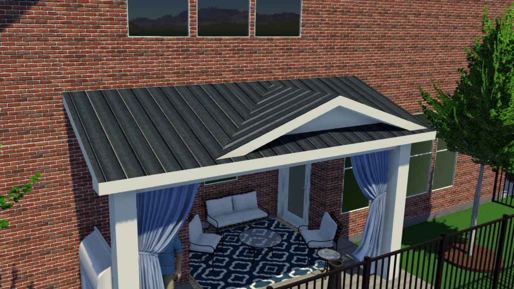 full finish covered patio addition in
