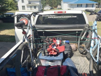 Camping gear is ready to go and easily loaded in to the pickup.