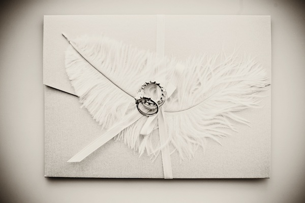Bohemian Wedding Invitation With Feathers And Watercolor Flowers