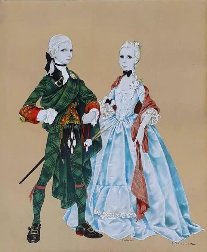 Two Scottish Children painting by Janet Anne Grahame Johnstone